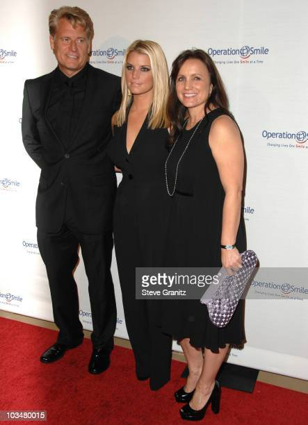 Joe Simpson, Jessica Simpson and Tina Simpson arrives at Operation Smile's 8th Annual Smile Gala at The Beverly Hilton Hotel on October 2, 2009 in...