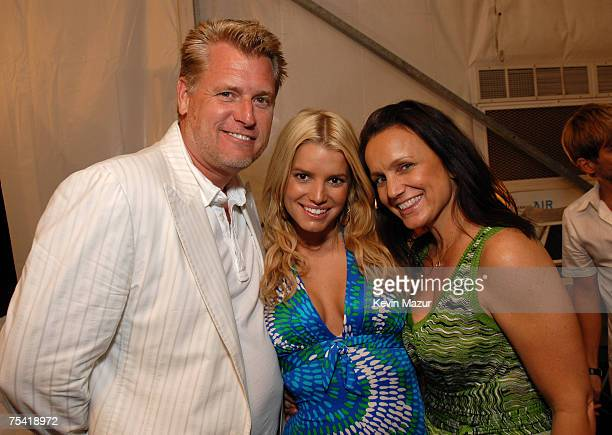 Joe Simpson, Musician/Designer Jessica Simpson and Tina Simpson backstage before the Jessica Simpson Swimwear Show at the Raleigh Hotel on July 14,...