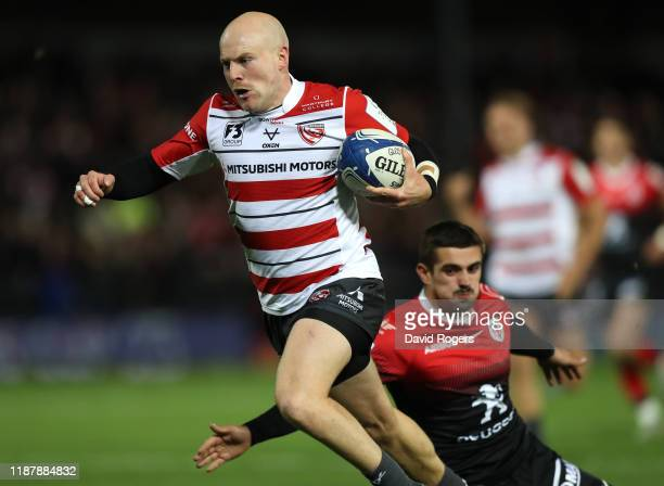 Joe Simpson of Gloucester breaks clear to score his second try during the Heineken Champions Cup Round 1 match between Gloucester Rugby and Toulouse...