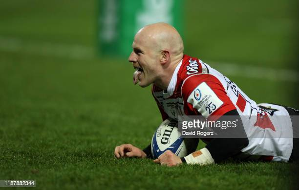Joe Simpson of Gloucester celebrates after scoring his second try during the Heineken Champions Cup Round 1 match between Gloucester Rugby and...