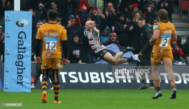 Joe Simpson of Gloucester dives to score a try during the Gallagher Premiership Rugby match between Gloucester Rugby and Wasps at on October 26 2019...