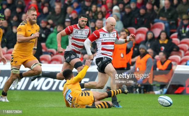 Joe Simpson of Gloucester Rugby scores a try during the Gallagher Premiership Rugby match between Gloucester Rugby and Wasps at on October 26 2019 in...