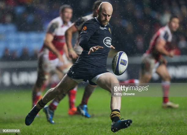 Joe Simpson of Wasps during the European Rugby Champions Cup match between Wasps and Ulster Rugby at Ricoh Arena on January 21 2018 in Coventry...