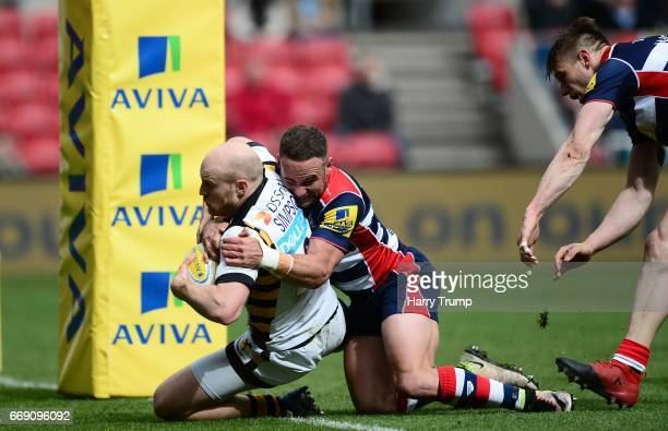Joe Simpson of Wasps goes over for his side's third try during the Aviva Premiership match between Bristol Rugby and Wasps at Ashton Gate on April 16...