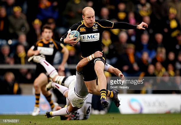 Joe Simpson of Wasps in action during the Amlin Challenge Cup match between London Wasps and Bordeaux-Begles at Adams Park on January 22, 2012 in...