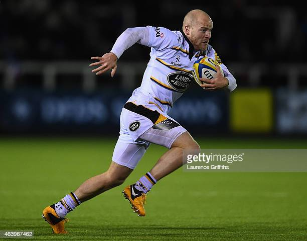 Joe Simpson of Wasps in action during the Aviva Premiership match between Newcastle Falcons and Wasps at Kingston Park on February 20, 2015 in...