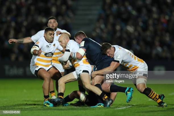 Joe Simpson of Wasps is tackled by Tadhg Furlong of Leinster Rugby during the Champions Cup match between Leinster Rugby and Wasps at RDS Arena on...