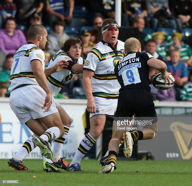Joe Simpson of Wasps takes on the blooded Dylan Hartley during the Guinness Premiership match between London Wasps and Northampton Saints at Adams...