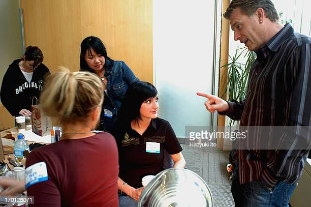"""Joe Simpson overseeing his daughter Ashlee Simpson's hair and makeup before her appearance on """"Live With Regis and Kelly"""" at ABC studio on September..."""
