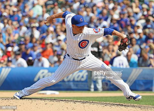 Joe Smith of the Chicago Cubs pitches against the Miami Marlins at Wrigley Field on August 3 2016 in Chicago Illinois The Cubs defeated the Marlins 54
