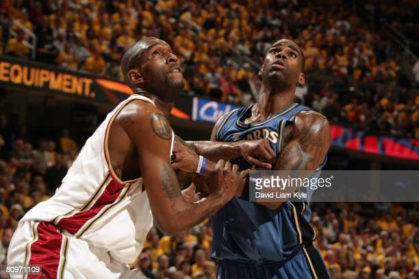 Joe Smith of the Cleveland Cavaliers and Antawn Jamison of the Washington Wizards battle for position in Game Five of the Eastern Conference...