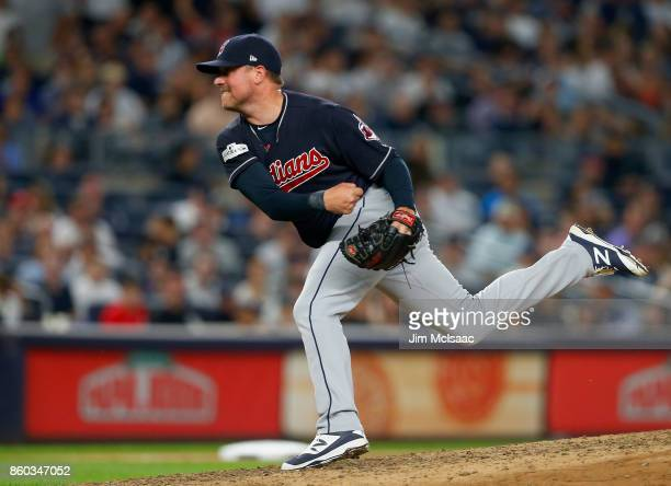 Joe Smith of the Cleveland Indians in action against the New York Yankees in Game Three of the American League Divisional Series at Yankee Stadium on...