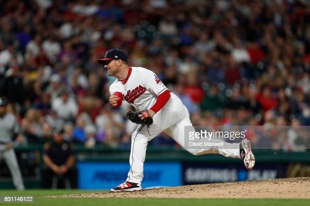Joe Smith of the Cleveland Indians pitches against the New York Yankees in the eighth inning at Progressive Field on August 4 2017 in Cleveland Ohio...