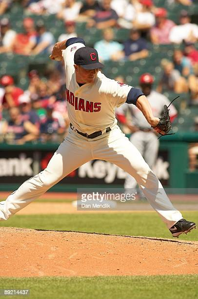 Joe Smith of the Cleveland Indians pitches during the game against the Cincinnati Reds at Progressive Field in Cleveland Ohio on Sunday June 28 2009...