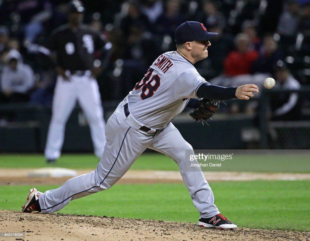 Joe Smith #38 of the Cleveland Indians pitches in the 6th inning against the Chicago White Sox at Guaranteed Rate Field on September 5, 2017 in Chicago, Illinois.