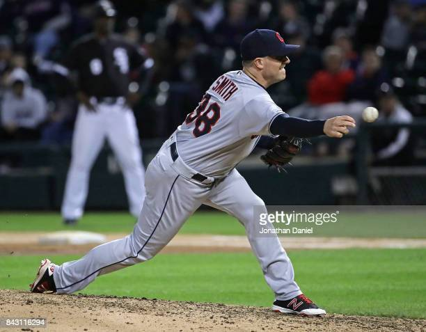 Joe Smith of the Cleveland Indians pitches in the 6th inning against the Chicago White Sox at Guaranteed Rate Field on September 5 2017 in Chicago...