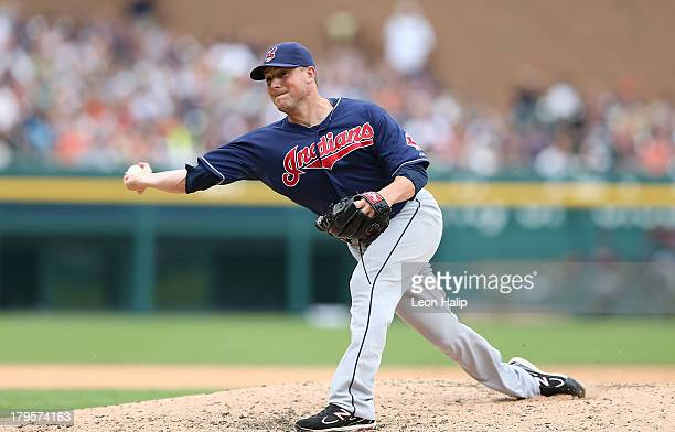Joe Smith of the Cleveland Indians pitches in the eighth inning against the tags Detroit Tigers at Comerica Park on September 1 2013 in Detroit...