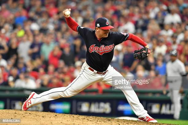 Joe Smith of the Cleveland Indians pitches in the ninth inning against the New York Yankees during game two of the American League Division Series at...