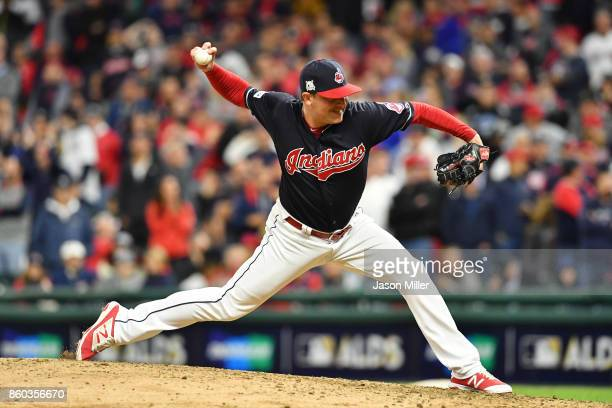 Joe Smith of the Cleveland Indians pitches in the ninth inning against the New York Yankees in Game Five of the American League Divisional Series at...