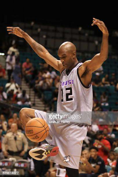 Joe Smith of the Ghost Ballers kicks the ball during the BIG3 three on three basketball league runnerup game on August 26 2017 in Las Vegas Nevada