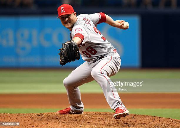 Joe Smith of the Los Angeles Angels of Anaheim pitches during the eighth inning of a game against the Tampa Bay Rays on July 7 2016 at Tropicana...