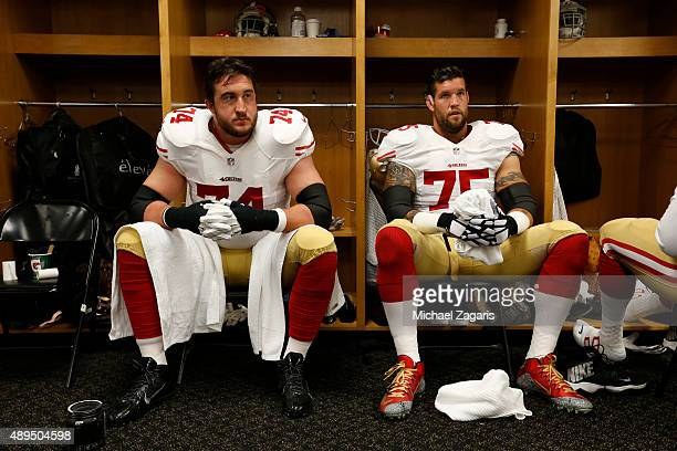 Joe Staley and Alex Boone of the San Francisco 49ers relax in the locker room prior to the game against the Pittsburgh Steelers at Heinz Field on...