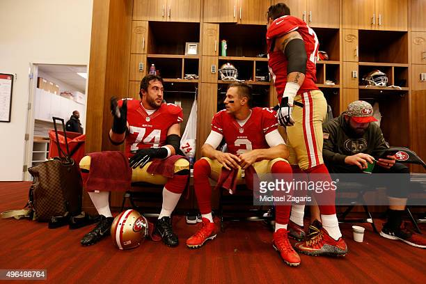 Joe Staley and Blaine Gabbert of the San Francisco 49ers talk in the locker room prior to the game against the Atlanta Falcons at Levi Stadium on...