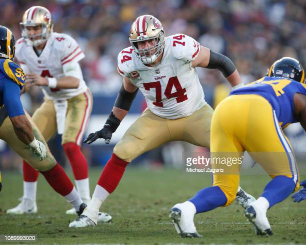 Joe Staley of the San Francisco 49ers blocks during the game against the Los Angeles Rams at the LA Memorial Coliseum on December 30 2018 in Los...