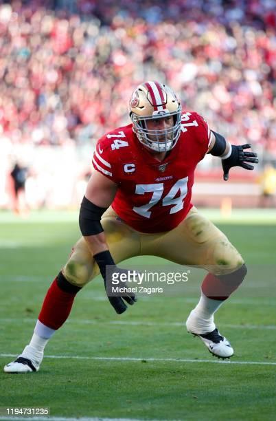 Joe Staley of the San Francisco 49ers blocks during the game against the Atlanta Falcons at Levi's Stadium on December 15 2019 in Santa Clara...