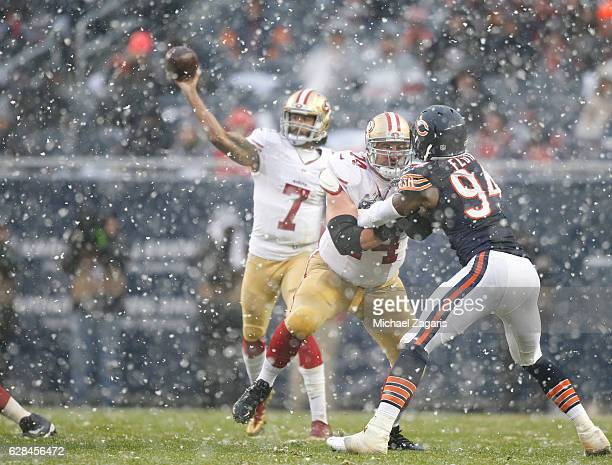 Joe Staley of the San Francisco 49ers blocks during the game against the Chicago Bears at Soldier Field on December 4 2016 in Chicago Illinois The...