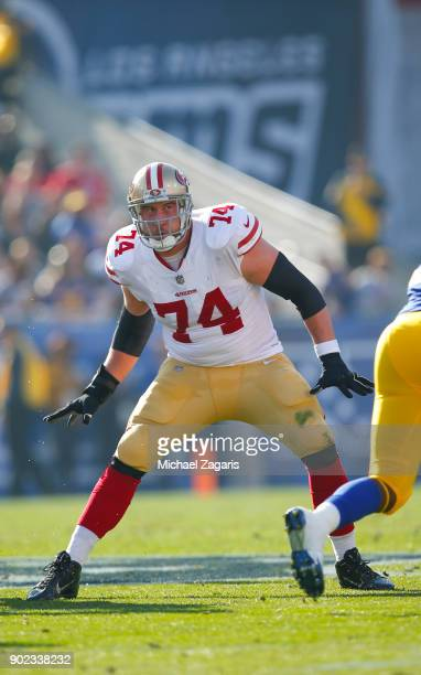 Joe Staley of the San Francisco 49ers blocks during the game against the Los Angeles Rams at Los Angeles Memorial Coliseum on December 31 2017 in Los...