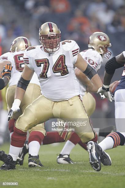 Joe Staley of the San Francisco 49ers blocks during the NFL game against the Chicago Bears at Soldier Field on August 21 2008 in Chicago Illinois The...