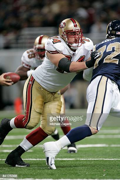 Joe Staley of the San Francisco 49ers blocks during the NFL game against the St Louis Rams at the Edward Jones Dome on December 21 2008 in St Louis...