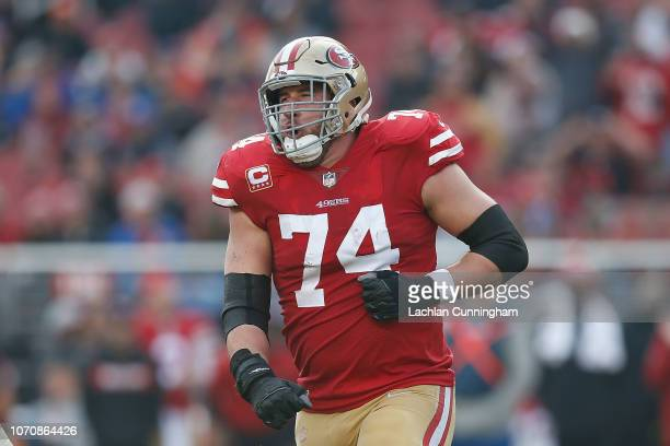 Joe Staley of the San Francisco 49ers celebrates after making a reception during the game against the Denver Broncos during at Levi's Stadium on...