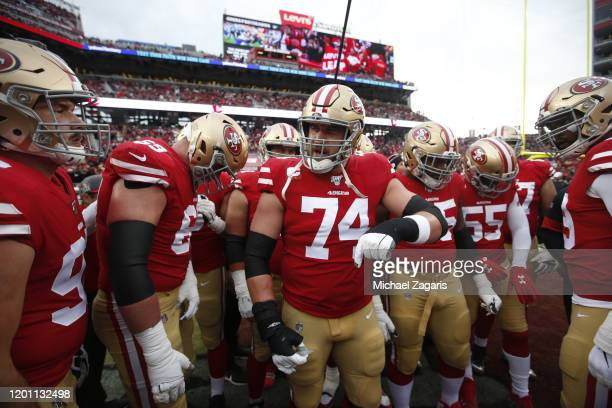 Joe Staley of the San Francisco 49ers fires the team up on the field prior to the game against the Green Bay Packers at Levi's Stadium on January 19...