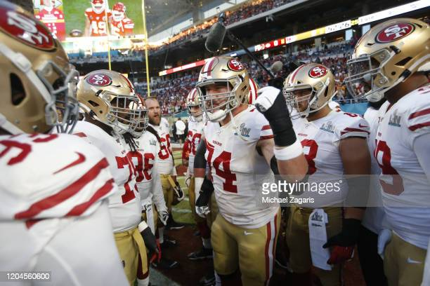 Joe Staley of the San Francisco 49ers fires up the offensive and defensive lines on the field before the game against the Kansas City Chiefs in Super...
