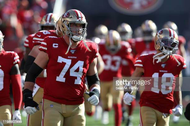 Joe Staley of the San Francisco 49ers runs out of the tunnel prior to the NFC Divisional Round Playoff game against the Minnesota Vikings at Levi's...