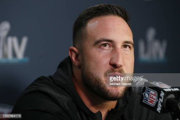 Joe Staley of the San Francisco 49ers speaks to the media during the San Francisco 49ers media availability prior to Super Bowl LIV at the James L...