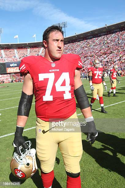 Joe Staley of the San Francisco 49ers stands on the field prior to the game against the St Louis Rams at Candlestick Park on November 11 2012 in San...