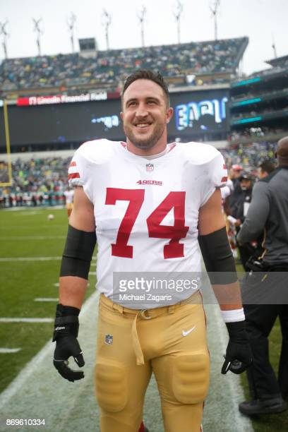 Joe Staley of the San Francisco 49ers stands on the sideline prior to the game against the Philadelphia Eagles at Lincoln Financial Field on October...