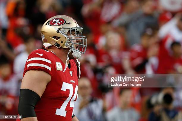 Joe Staley of the San Francisco 49ers warms up before the game against the Seattle Seahawks at Levi's Stadium on November 11 2019 in Santa Clara...