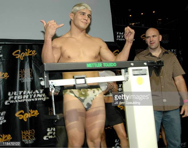 Joe Stevenson and Dana White during The Ultimate Fighter WeighIn November 4 2005 at Hard Rock Hotel in Las Vegas Nevada United States