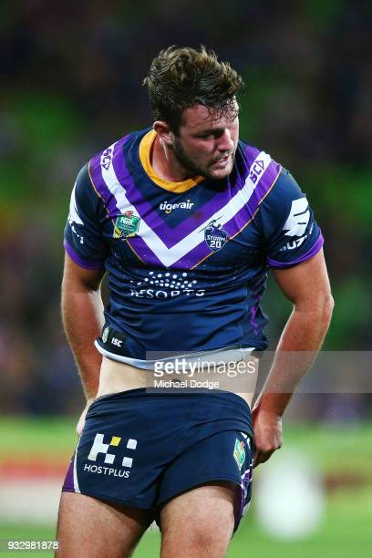 Joe Stimson of the Storm pulls his shorts up after being tackled during the round two NRL match between the Melbourne Storm and the Wests Tigers at...
