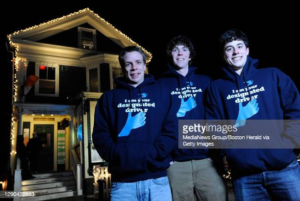 Joe Stokes, left, Patrick Collins, and Raymer Maguire of Boston's Designated Driver stand outside Tommy Doyle's in Cambridge, one of their partnering...