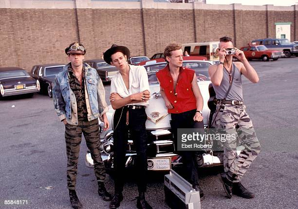 STADIUM Photo of Joe STRUMMER and Mick JONES and Terry CHIMES and Paul SIMONON and CLASH L to R Mick Jones Paul Simonon Terry Chimes Joe Strummer...