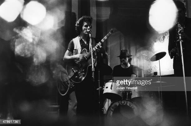 Joe Strummer and Richard 'Snakehips' Dudanski perfoming with English pub rock group The 101ers at The Elgin pub, Ladbroke Grove, London, 1975....
