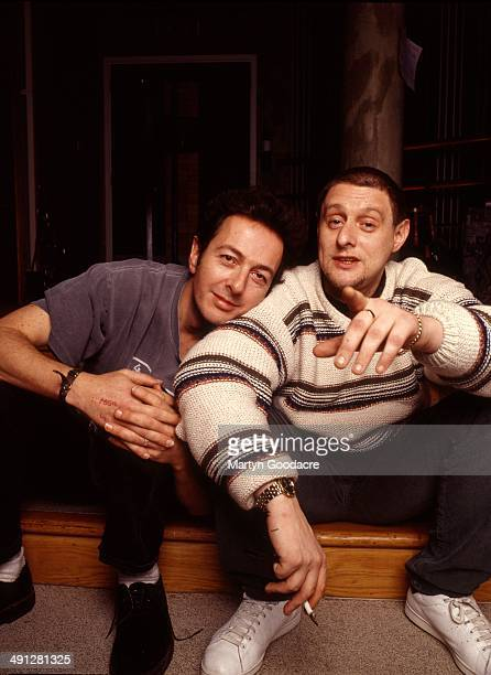 Joe Strummer and Shaun Ryder during the recording of Black Grape's album England's Irie' at Box Studios in Wiltshire United Kingdom 1996