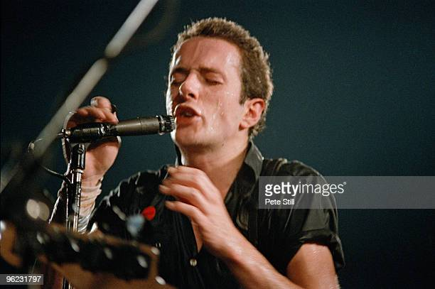 Joe Strummer of The Clash performs on stage at Hammersmith Palais on June 16th, 1980 in London, United Kingdom.