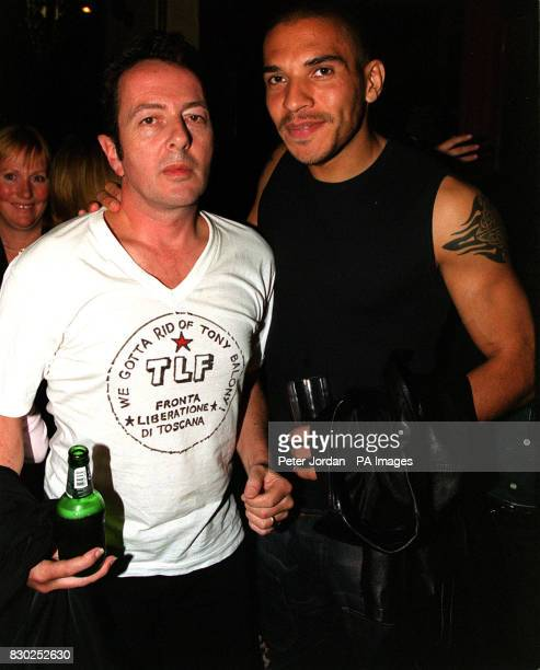 Joe Strummer of The Clash with Stan Collymore at the premiere of the BBC2 documentary Westway To The World in Notting Hill in London The film is...