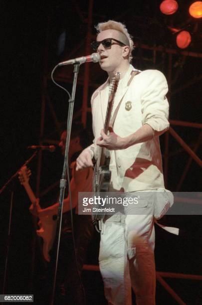Joe Strummer of the punk rock band The Clash performs at the St. Paul Civic Center in St. Paul, Minnesota on May 15, 1984.